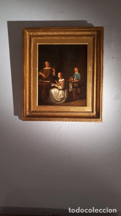 Arte: UNA LECCIÓN DE MÚSICA. ÓLEO SOBRE TABLA S. XVIII-XIX. - Foto 11 - 209349393