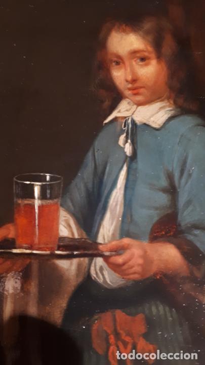 Arte: UNA LECCIÓN DE MÚSICA. ÓLEO SOBRE TABLA S. XVIII-XIX. - Foto 12 - 209349393