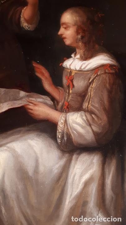 UNA LECCIÓN DE MÚSICA. ÓLEO SOBRE TABLA S. XVIII-XIX. (Arte - Pintura - Pintura al Óleo Antigua siglo XVIII)