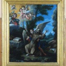 Arte: ÓLEO COBRE ÉXTASIS DE SAN FRANCISCO ESCUELA ITALIANA FINALES DEL SIGLO XVII. Lote 209362370