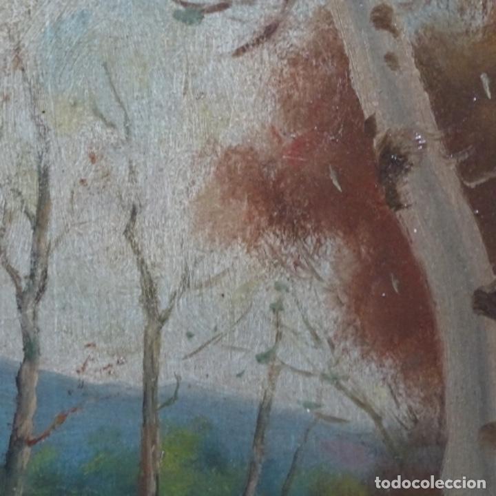 Arte: Óleo sobre cartón Ilegible escuela olotina, circulo vayreda.siglo xix. - Foto 5 - 209368265