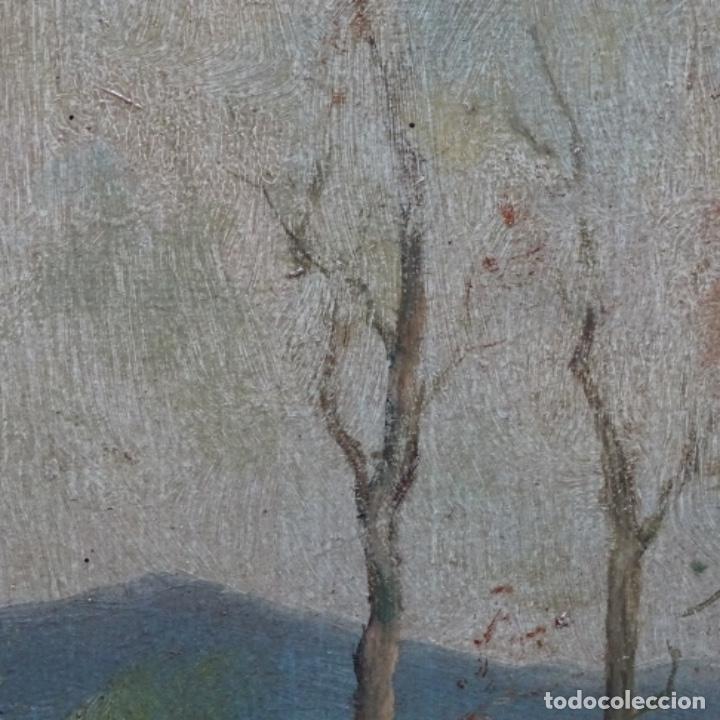 Arte: Óleo sobre cartón Ilegible escuela olotina, circulo vayreda.siglo xix. - Foto 6 - 209368265