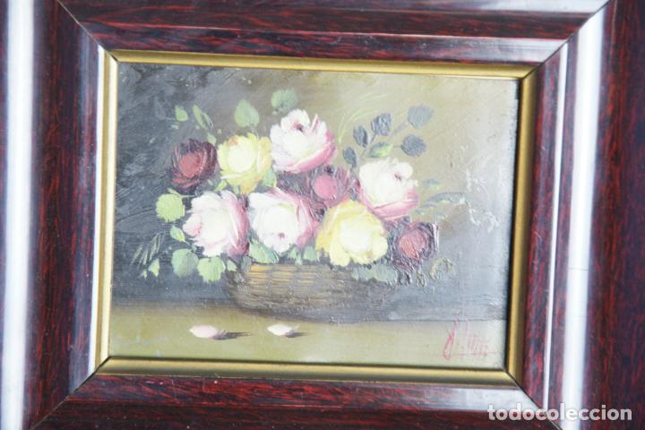 Arte: Bello oleo sobre cobre o chapa. Bodegón floral. Firmado. 22 x 19 cm. - Foto 2 - 209563130