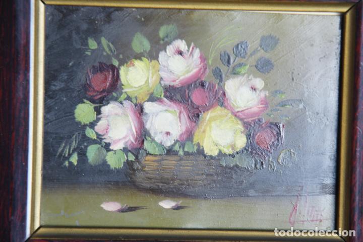 Arte: Bello oleo sobre cobre o chapa. Bodegón floral. Firmado. 22 x 19 cm. - Foto 3 - 209563130