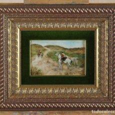 Arte: ÓLEO TABLA CABALLEROS EN UN PAISAJE FIRMADO GABRIEL OSMUNDO GÓMEZ CUBA 1856 VALLADOLID 1915. Lote 209589121