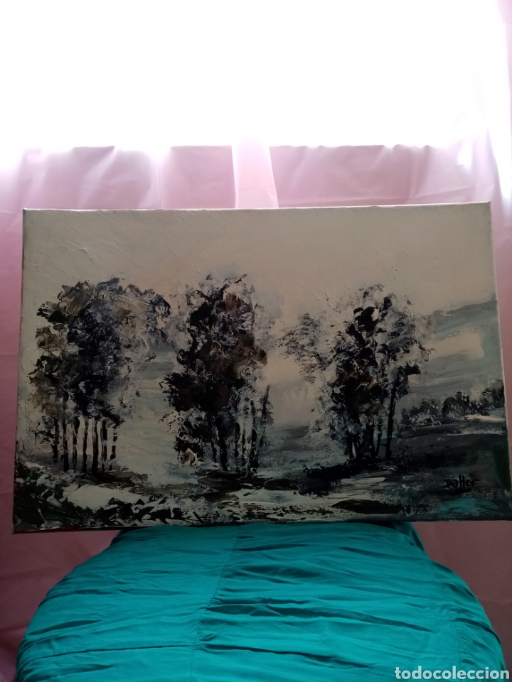 Arte: Precioso cuadro, Pintura Óleo sobre lienzo. Magnífico Paisaje en blanco y negro 60cm x 40cm - Foto 2 - 209620662
