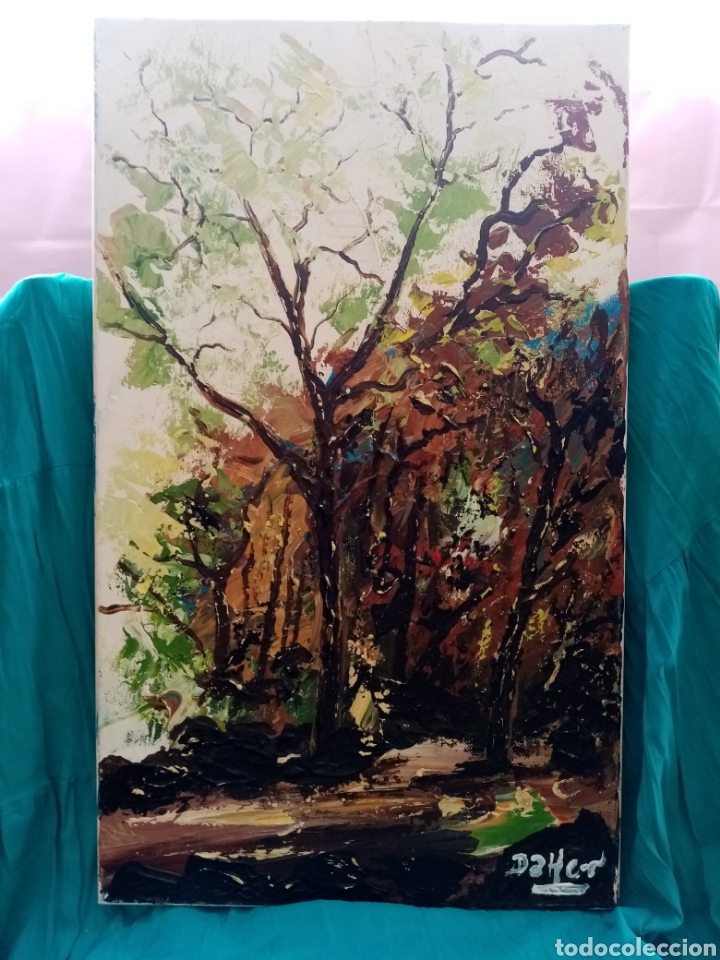 Arte: Hermoso cuadro, Pintura Óleo sobre lienzo. Magnífico Paisaje de Otoño 54.8cm x 32.8cm - Foto 2 - 209624901