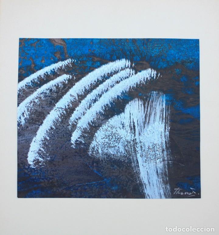 Arte: Joan Josep Tharrats, pintura abstracta sobre cartulina, técnica mixta, firmada. 29x25cm - Foto 3 - 209647638