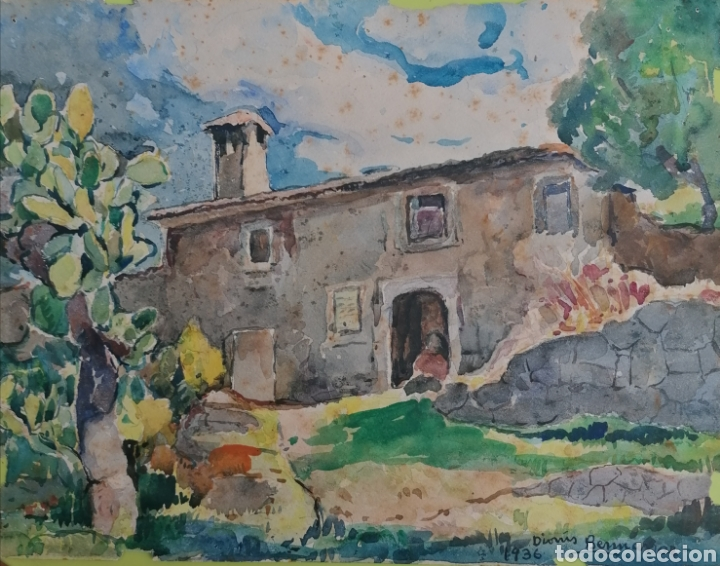 DIONIS BENNASSAR. 2 ACUARELAS DEL CAVALL BERNAT MALLORCA Y POSSESIO MALLORQUINA FECHADO 1936. (Arte - Pintura - Pintura al Óleo Moderna sin fecha definida)