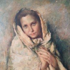 Arte: RAFAEL ESTRANY I ROS (MATARÓ, 1884-BARCELONA,1958) - JOVEN CON MANTÓN.OLEO/TABLA.FIRMADO.1945.. Lote 209679295