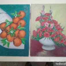 Arte: LOTE 2 CUADROS SOBRE TELA.BODEGON Y FLORES. Lote 209708258