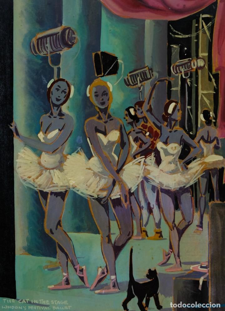 ÓLEO SOBRE PAPEL BAILARINAS FIRMA ILEGIBLE SIGLO XX (Arte - Pintura - Pintura al Óleo Contemporánea )