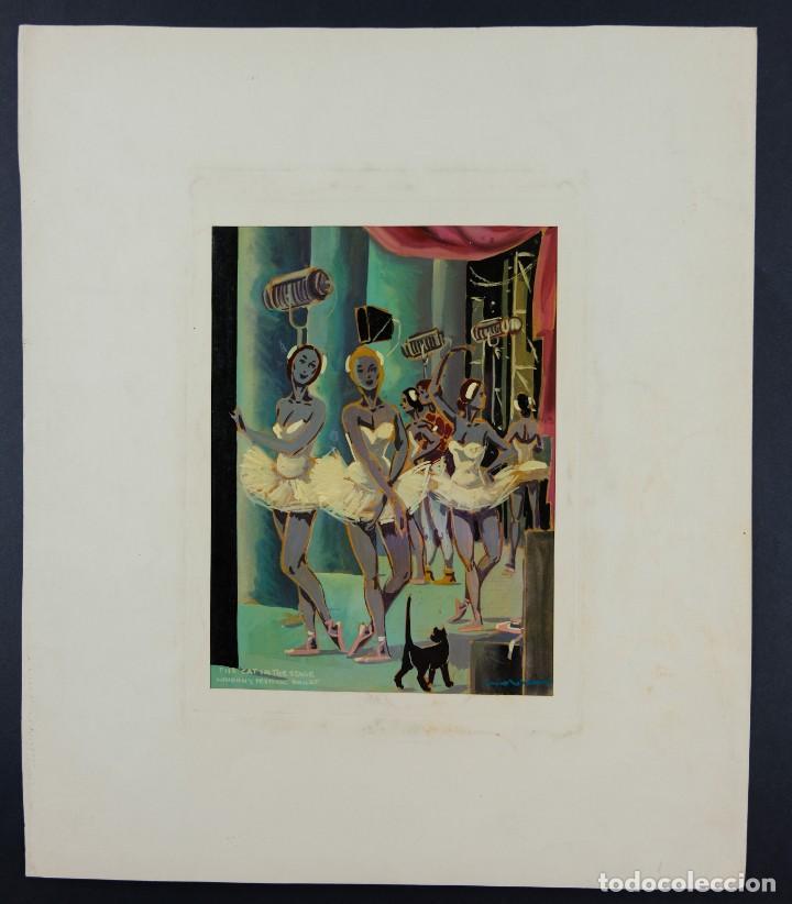Arte: Óleo sobre papel Bailarinas firma ilegible siglo XX - Foto 2 - 209798575