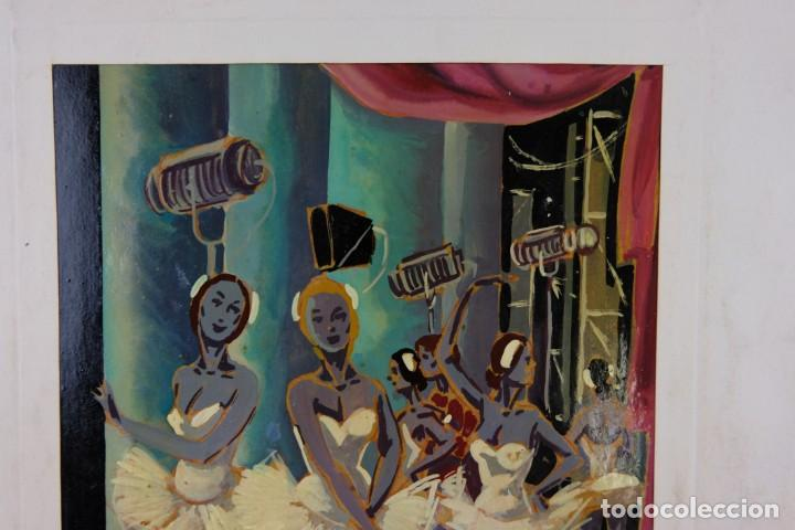 Arte: Óleo sobre papel Bailarinas firma ilegible siglo XX - Foto 3 - 209798575