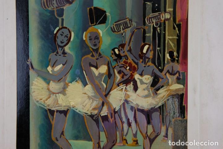 Arte: Óleo sobre papel Bailarinas firma ilegible siglo XX - Foto 4 - 209798575