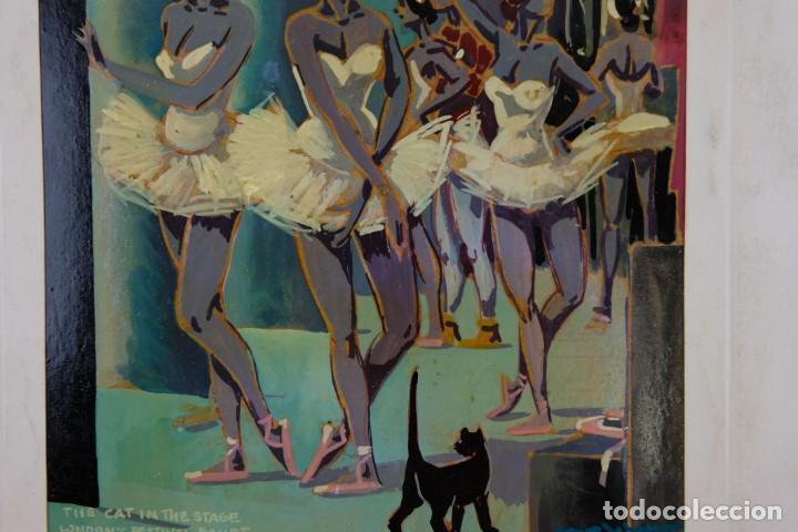 Arte: Óleo sobre papel Bailarinas firma ilegible siglo XX - Foto 5 - 209798575