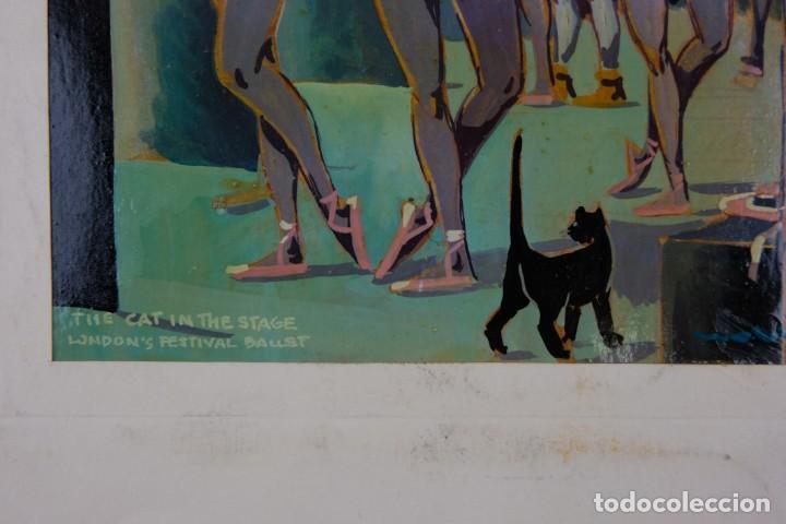 Arte: Óleo sobre papel Bailarinas firma ilegible siglo XX - Foto 6 - 209798575