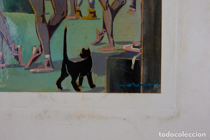 Arte: Óleo sobre papel Bailarinas firma ilegible siglo XX - Foto 7 - 209798575