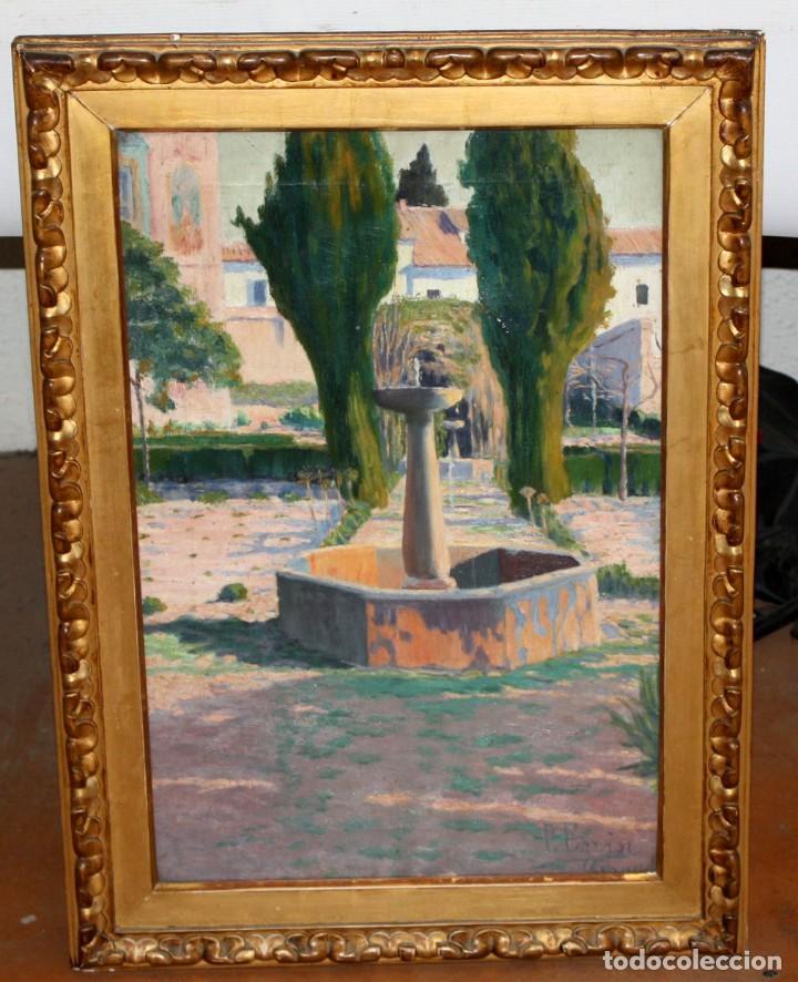 Arte: PERE FERRAN ICART (Tarragona, 1873 - 1950) OLEO SOBRE TELA. JARDIN - Foto 2 - 209815553