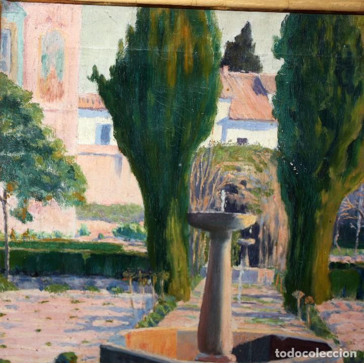 Arte: PERE FERRAN ICART (Tarragona, 1873 - 1950) OLEO SOBRE TELA. JARDIN - Foto 3 - 209815553