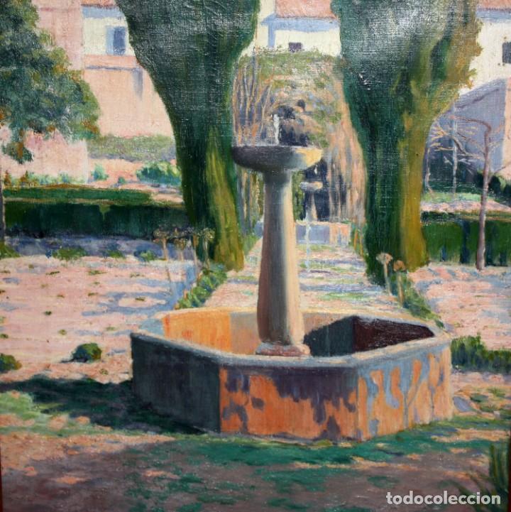 Arte: PERE FERRAN ICART (Tarragona, 1873 - 1950) OLEO SOBRE TELA. JARDIN - Foto 4 - 209815553