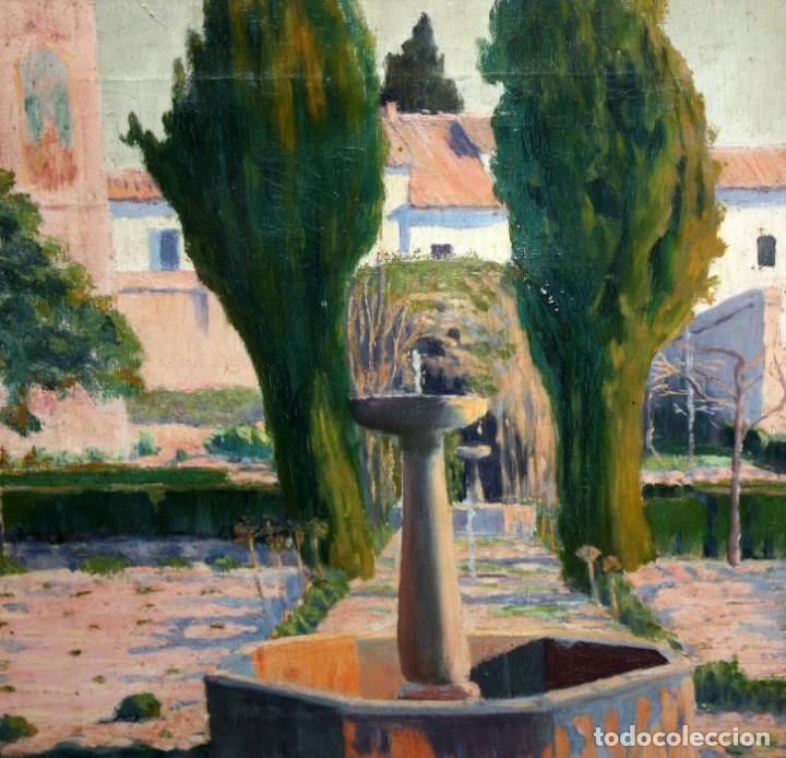 Arte: PERE FERRAN ICART (Tarragona, 1873 - 1950) OLEO SOBRE TELA. JARDIN - Foto 5 - 209815553