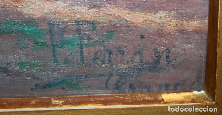 Arte: PERE FERRAN ICART (Tarragona, 1873 - 1950) OLEO SOBRE TELA. JARDIN - Foto 6 - 209815553