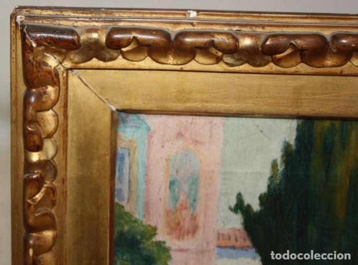 Arte: PERE FERRAN ICART (Tarragona, 1873 - 1950) OLEO SOBRE TELA. JARDIN - Foto 7 - 209815553