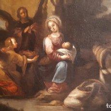 Arte: PINTURA RELIGIOSA. DESCANSO HUIDA A EGIPTO. ÓLEO SIGLO XVII. Lote 209966317