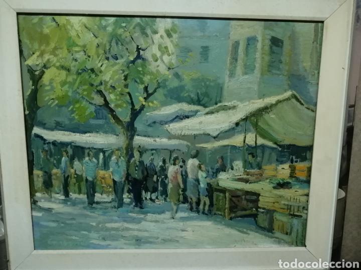 BONITO CUADRO DE UN MERCADO (Arte - Pintura - Pintura al Óleo Contemporánea )