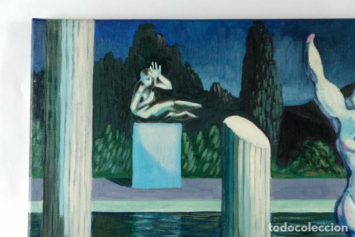 Arte: Óleo sobre lienzo Esculturas de piedra firma ilegible final siglo XX - Foto 3 - 210144707