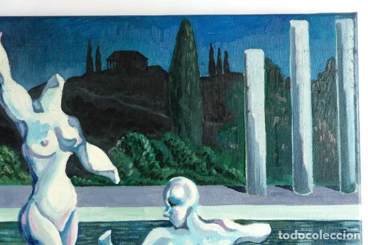 Arte: Óleo sobre lienzo Esculturas de piedra firma ilegible final siglo XX - Foto 4 - 210144707