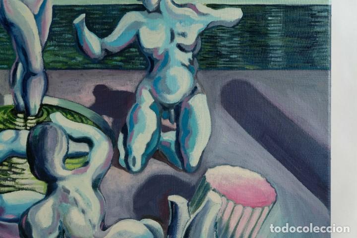 Arte: Óleo sobre lienzo Esculturas de piedra firma ilegible final siglo XX - Foto 5 - 210144707