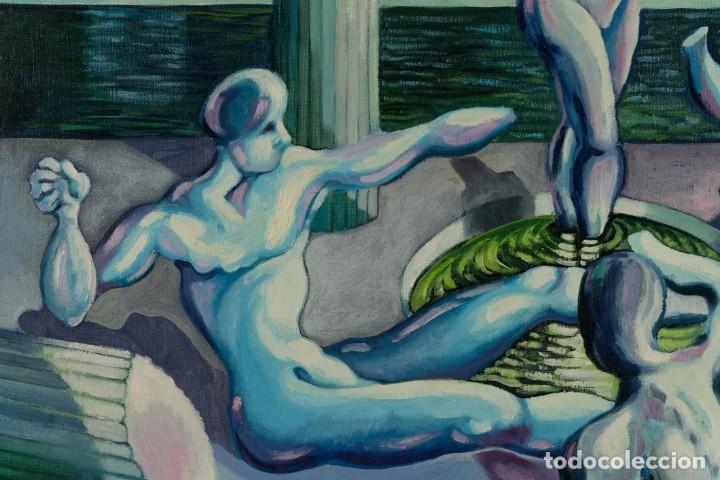 Arte: Óleo sobre lienzo Esculturas de piedra firma ilegible final siglo XX - Foto 6 - 210144707