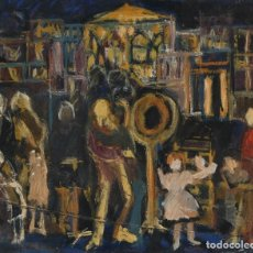 Arte: ISABEL SERRAHIMA (1934-1999) ÓLEO SOBRE LIENZO VISTA URBANA CON PERSONAJES. Lote 210146756