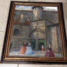 Arte: BELLO PASTEL CON ESCENA BILBAINA EN EL PORTICO DE LA CATEDRAL DE SANTIAGO. JOALDE. C. 1945. Lote 210169908