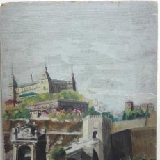 Arte: OLEO SOBRE CARTÓN, VISTA DESDE EL PUENTE ALCÁZAR DE TOLEDO, FIRMADO OTERO, 28 OCT. 93(1893). Lote 210177575