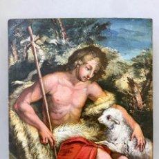 Arte: SAN JUAN BAUTISTA ÓLEO SOBRE TABLA MADERA CEDRO AGNUS DEI. ESCUELA ITALIANA SG XVIII. Lote 210188483