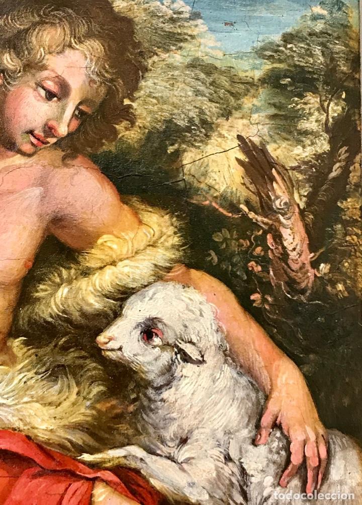Arte: SAN JUAN BAUTISTA ÓLEO SOBRE TABLA MADERA CEDRO AGNUS DEI. ESCUELA ITALIANA SG XVIII - Foto 4 - 210188483