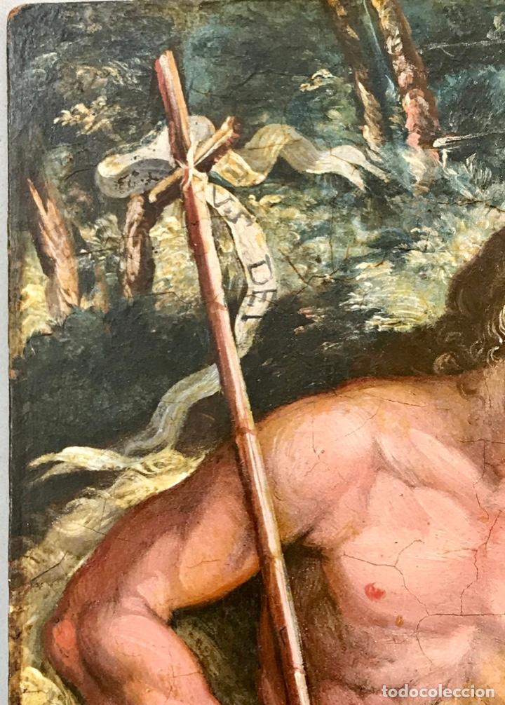 Arte: SAN JUAN BAUTISTA ÓLEO SOBRE TABLA MADERA CEDRO AGNUS DEI. ESCUELA ITALIANA SG XVIII - Foto 6 - 210188483