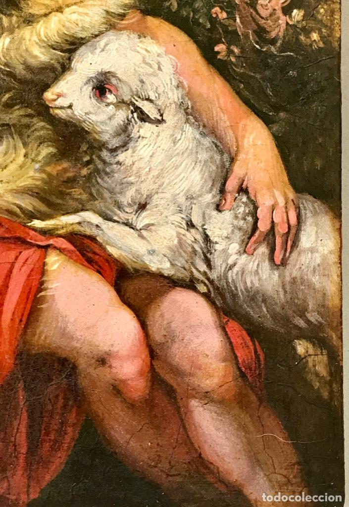 Arte: SAN JUAN BAUTISTA ÓLEO SOBRE TABLA MADERA CEDRO AGNUS DEI. ESCUELA ITALIANA SG XVIII - Foto 8 - 210188483