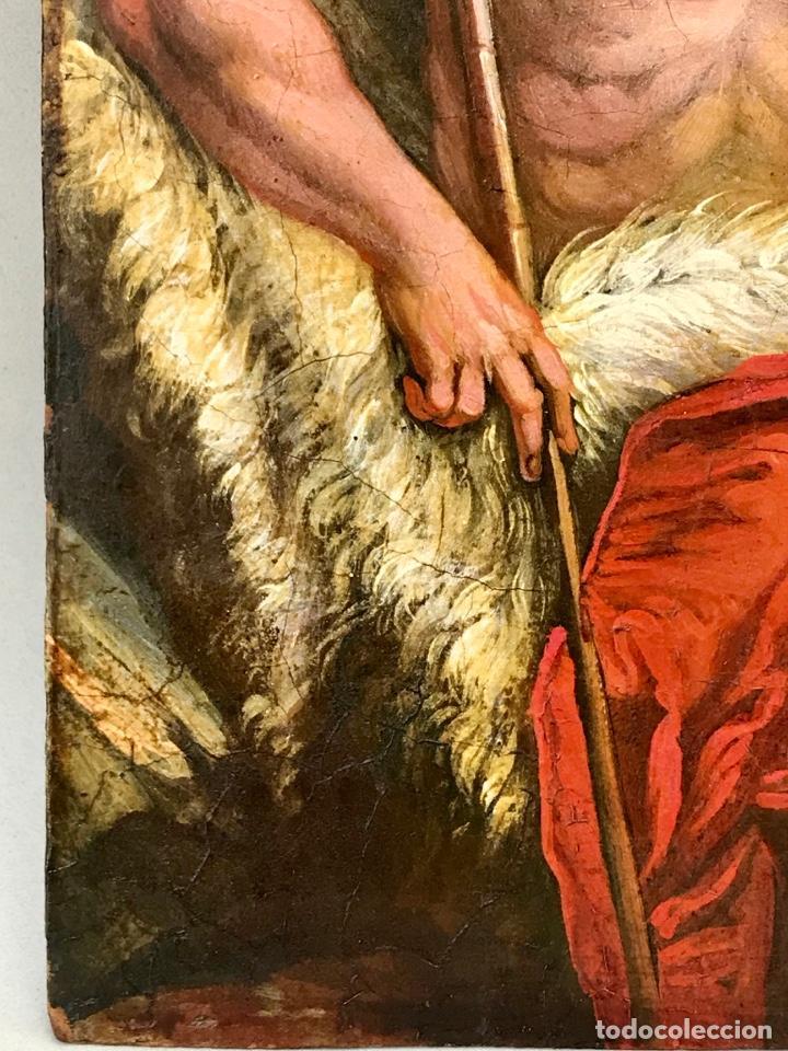 Arte: SAN JUAN BAUTISTA ÓLEO SOBRE TABLA MADERA CEDRO AGNUS DEI. ESCUELA ITALIANA SG XVIII - Foto 9 - 210188483