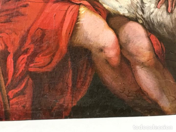 Arte: SAN JUAN BAUTISTA ÓLEO SOBRE TABLA MADERA CEDRO AGNUS DEI. ESCUELA ITALIANA SG XVIII - Foto 13 - 210188483