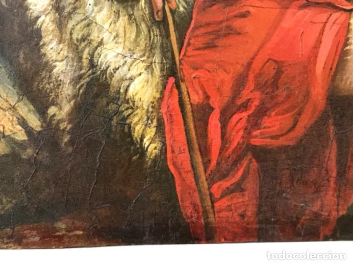 Arte: SAN JUAN BAUTISTA ÓLEO SOBRE TABLA MADERA CEDRO AGNUS DEI. ESCUELA ITALIANA SG XVIII - Foto 14 - 210188483