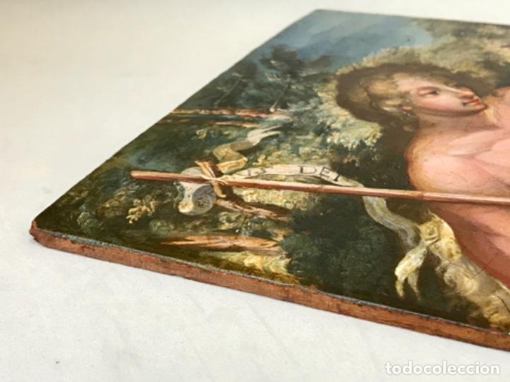 Arte: SAN JUAN BAUTISTA ÓLEO SOBRE TABLA MADERA CEDRO AGNUS DEI. ESCUELA ITALIANA SG XVIII - Foto 15 - 210188483