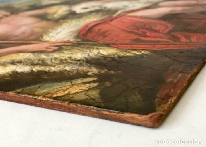 Arte: SAN JUAN BAUTISTA ÓLEO SOBRE TABLA MADERA CEDRO AGNUS DEI. ESCUELA ITALIANA SG XVIII - Foto 17 - 210188483