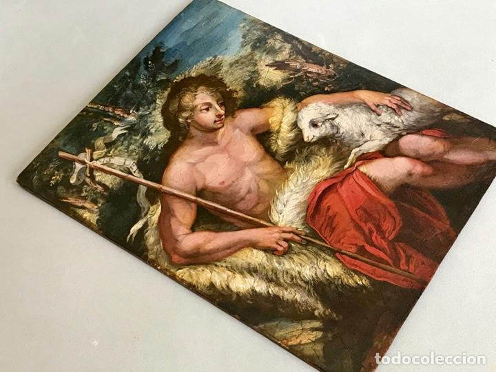 Arte: SAN JUAN BAUTISTA ÓLEO SOBRE TABLA MADERA CEDRO AGNUS DEI. ESCUELA ITALIANA SG XVIII - Foto 20 - 210188483