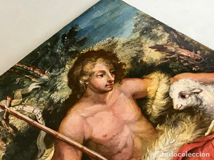 Arte: SAN JUAN BAUTISTA ÓLEO SOBRE TABLA MADERA CEDRO AGNUS DEI. ESCUELA ITALIANA SG XVIII - Foto 21 - 210188483
