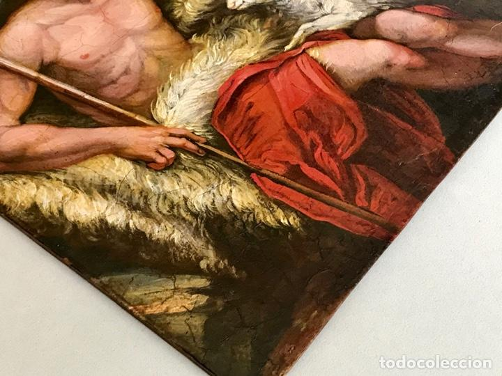 Arte: SAN JUAN BAUTISTA ÓLEO SOBRE TABLA MADERA CEDRO AGNUS DEI. ESCUELA ITALIANA SG XVIII - Foto 22 - 210188483