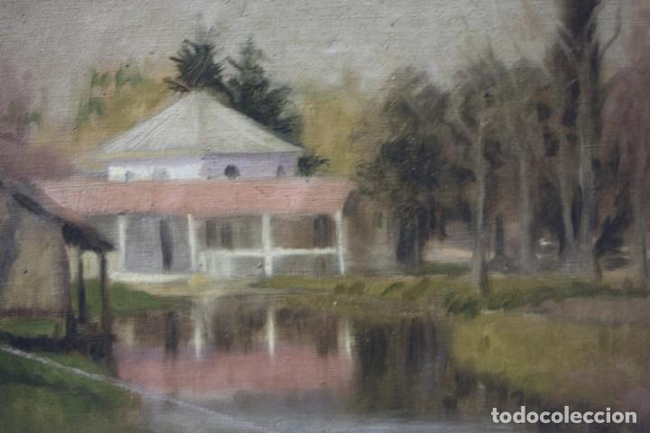 Arte: Antoni Pous Palau, paisaje con lago y casas, firmado, con marco. 24,5x30cm - Foto 2 - 210190640